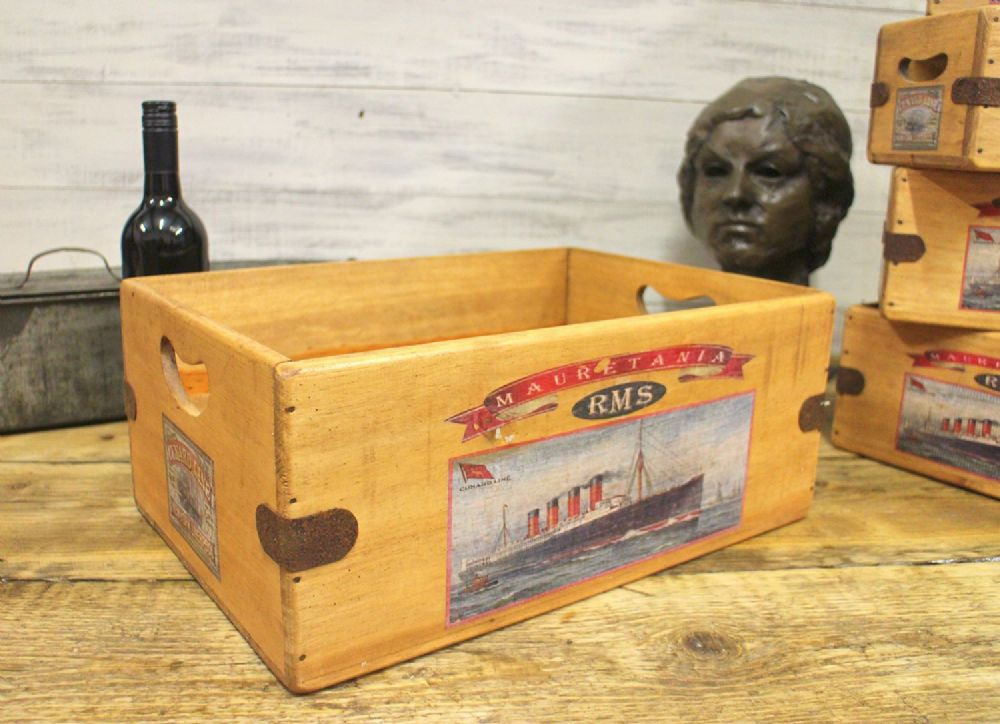 RMS Mauretania Cunard Vintage Box Wooden Storage Crate Antique Boat Ship Titanic